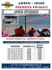 OFFERTA PRENOTA PRIMA CORFU - IPSOS: IPSOS STUDIOS