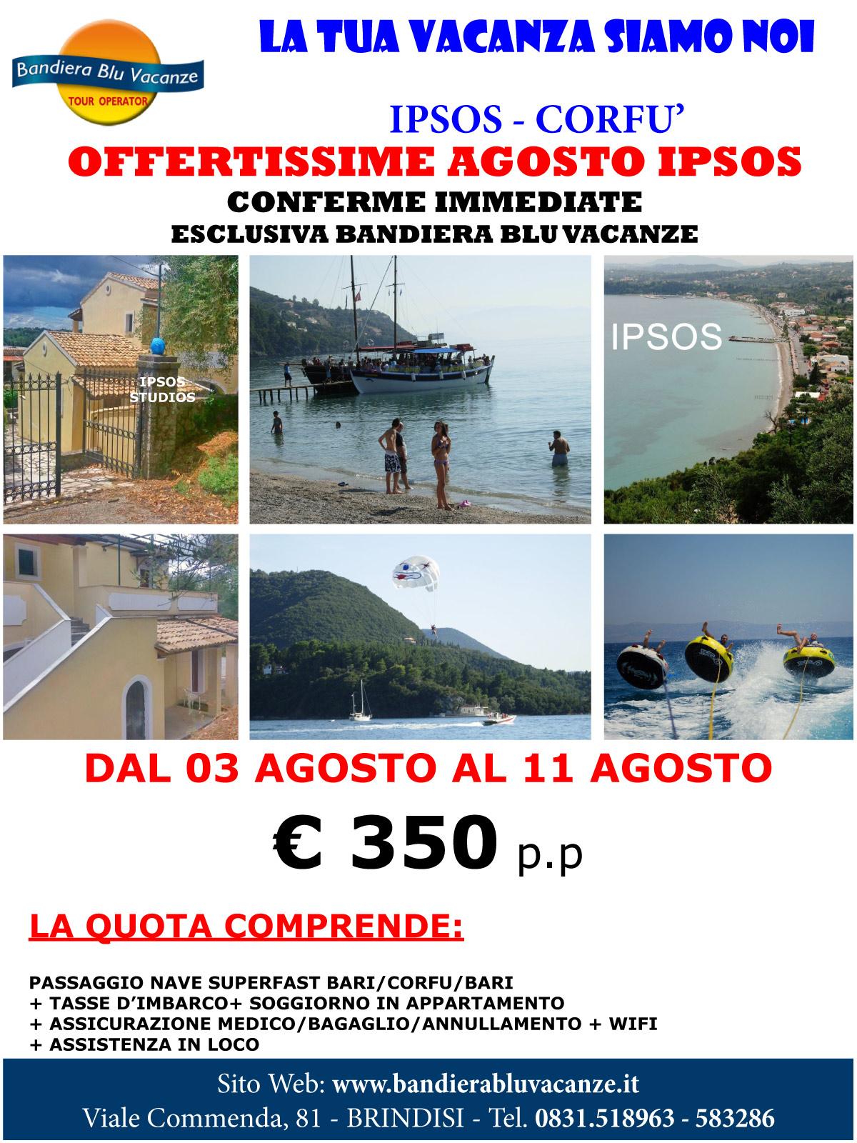 Corfù - Ipsos: La Tua Vacanza Siamo Noi - Dal 03 al 11 Agosto - Appartamenti Ipsos Studios