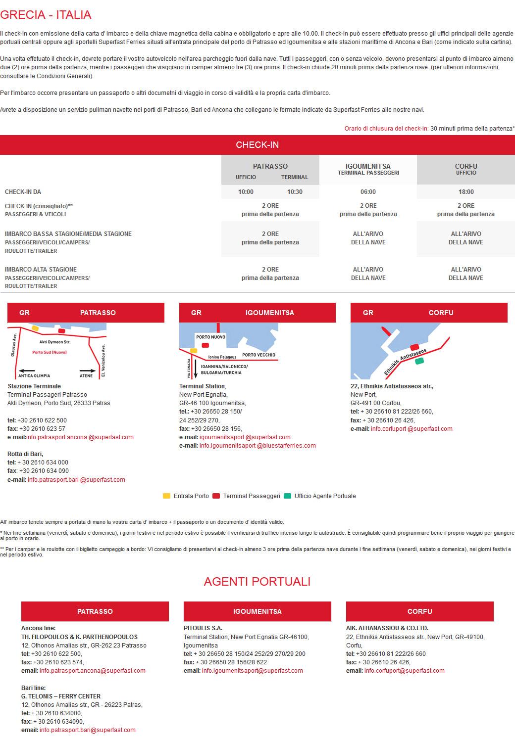 Check-in e Imbarco GRECIA - ITALIA