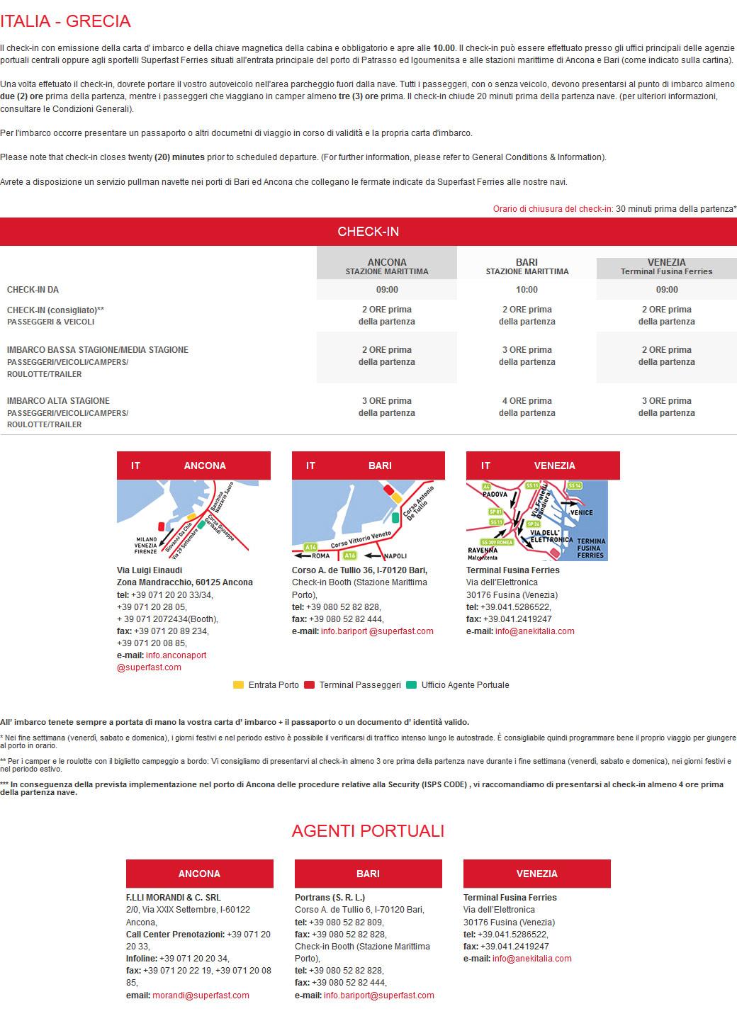 Check-in e Imbarco ITALIA - GRECIA